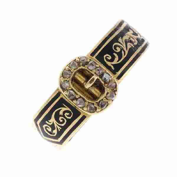 A late Victorian 18ct gold enamel and diamond hinged