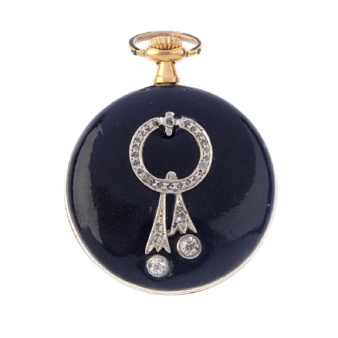 A diamond and black enamel fob watch. The circular dial