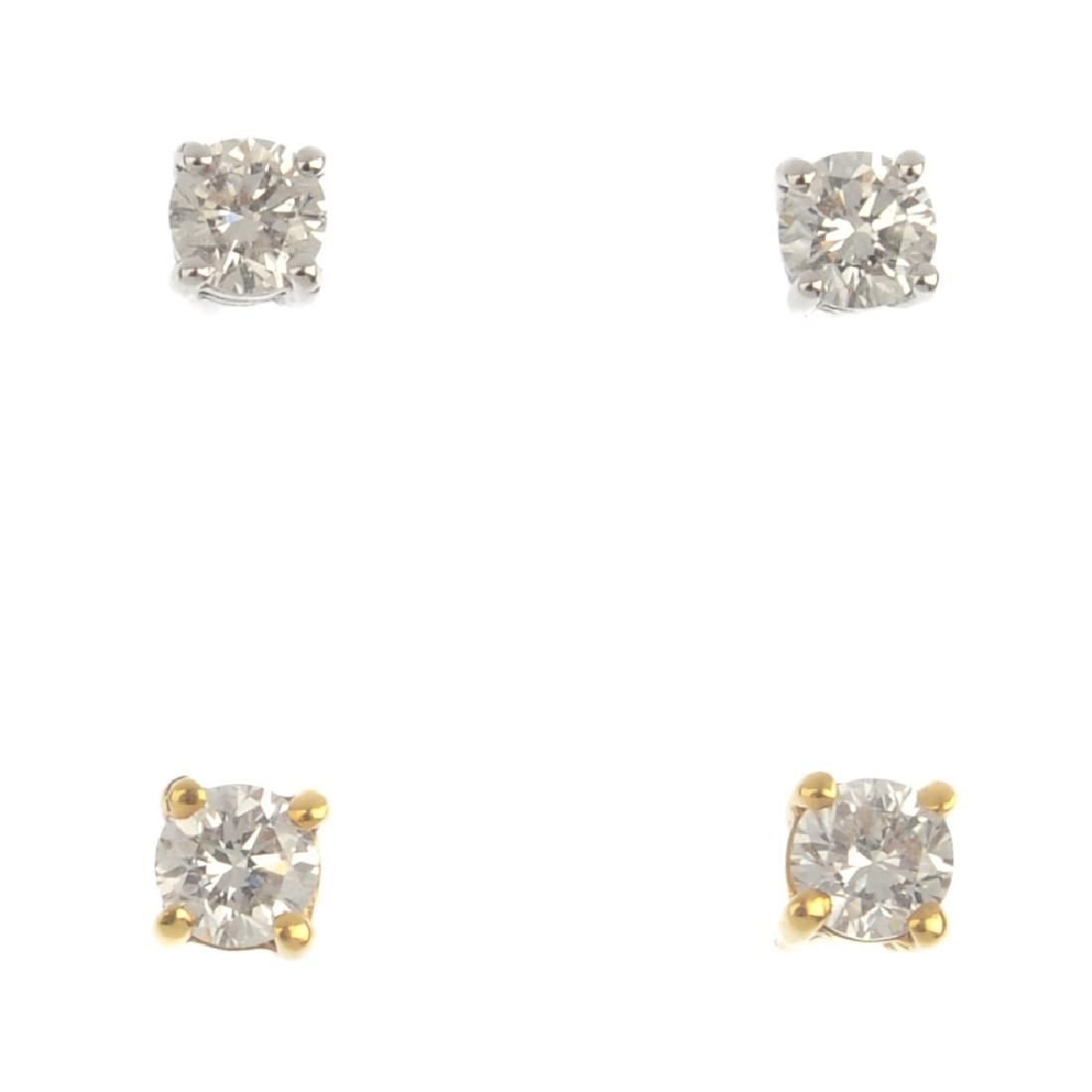 Four pairs of brilliant-cut diamond single-stone stud