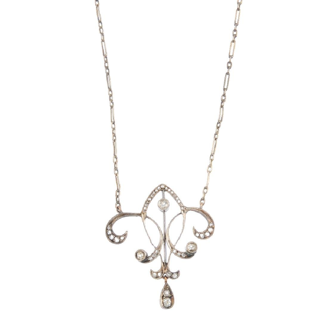 A diamond pendant. Of openwork design, the old and