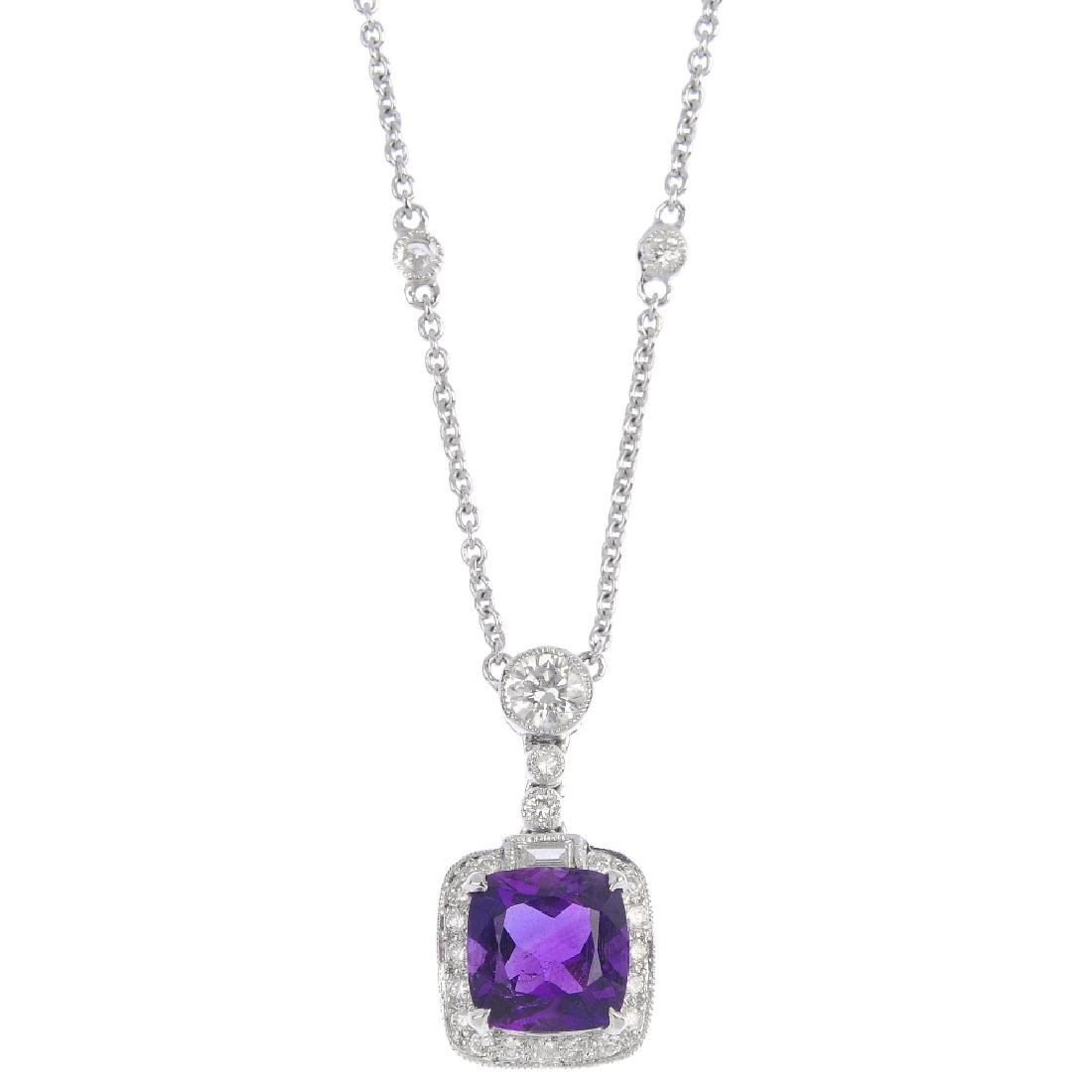 An 18ct gold amethyst and diamond pendant. The