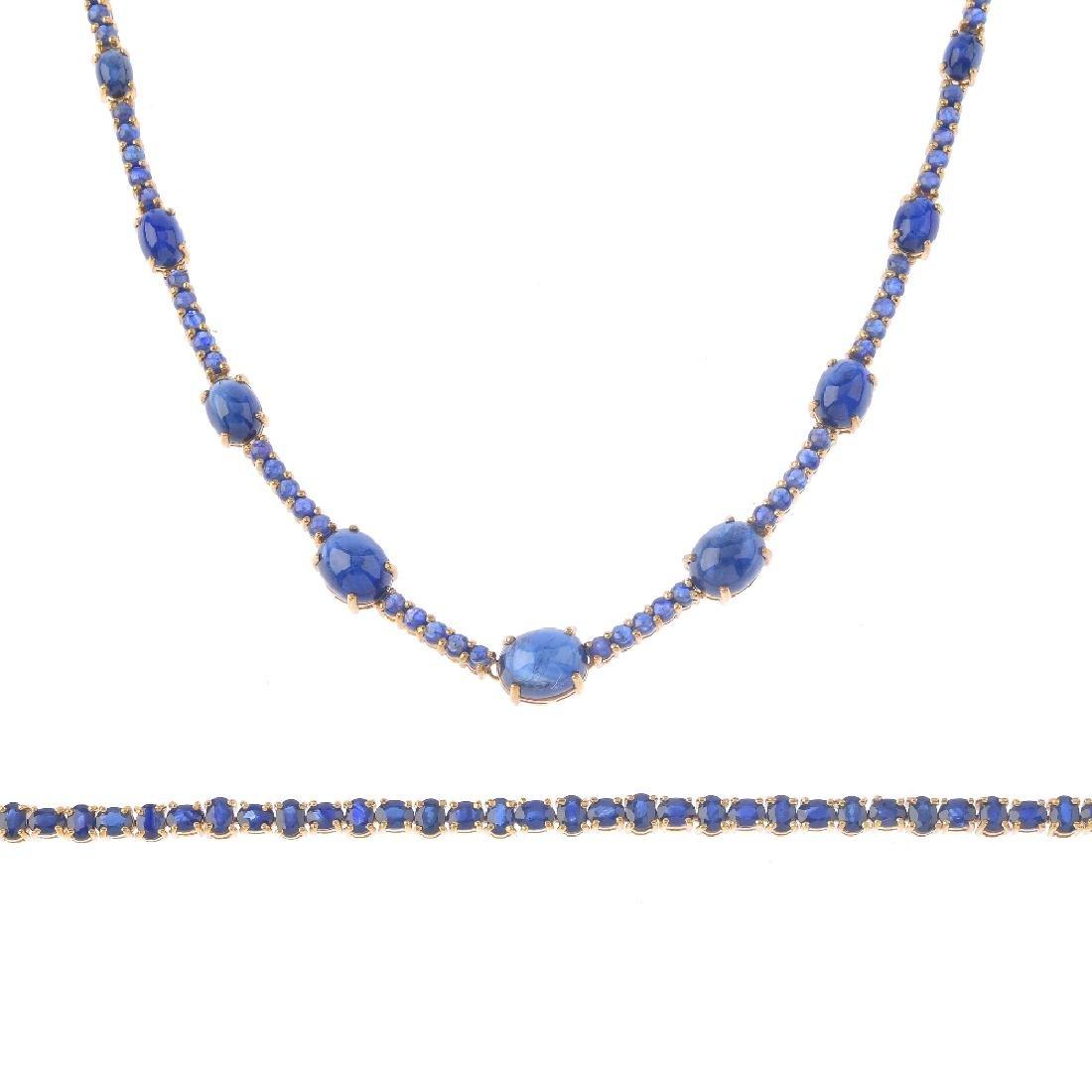 A 9ct gold sapphire necklace and bracelet. The bracelet