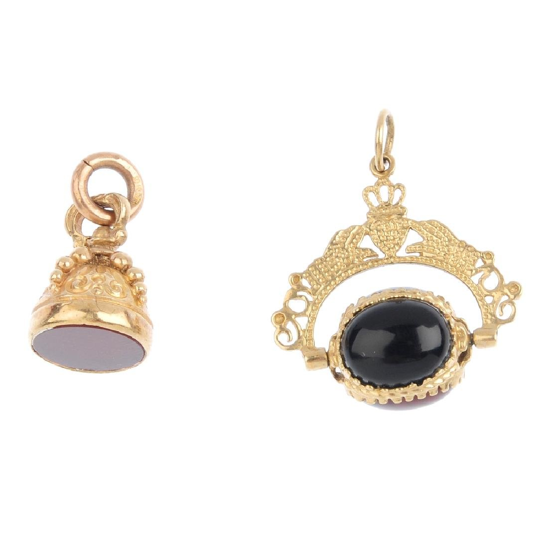 Two fobs. To include a hardstone swivel fob with