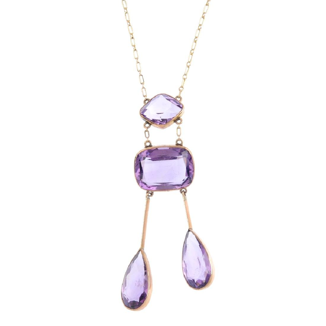 An early 20th century amethyst negligee pendant. The