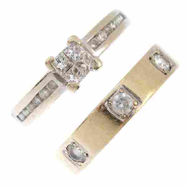Two diamond and cubic zirconia rings. The first