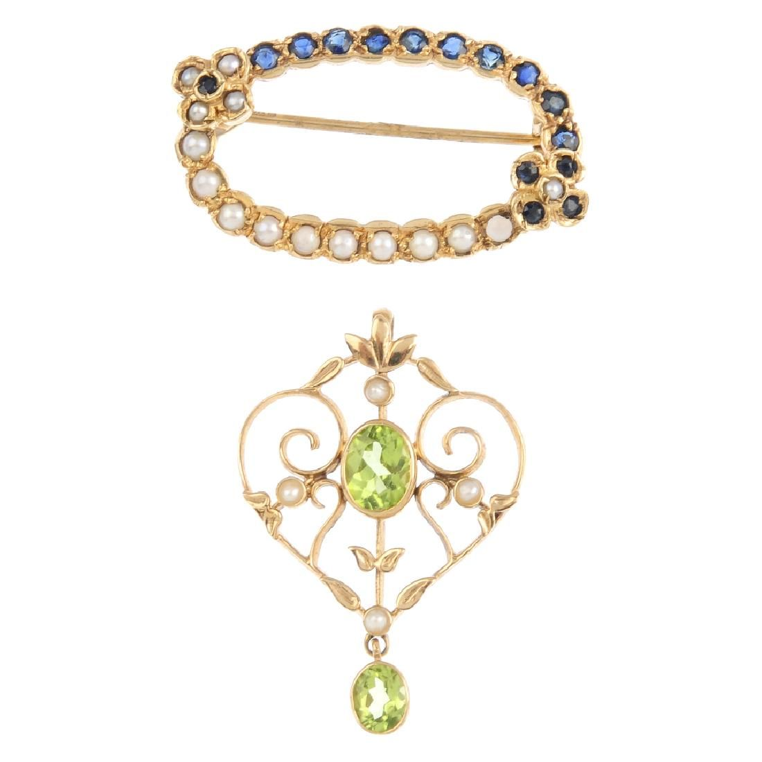 A gem-set brooch and pendant. The brooch designed as an