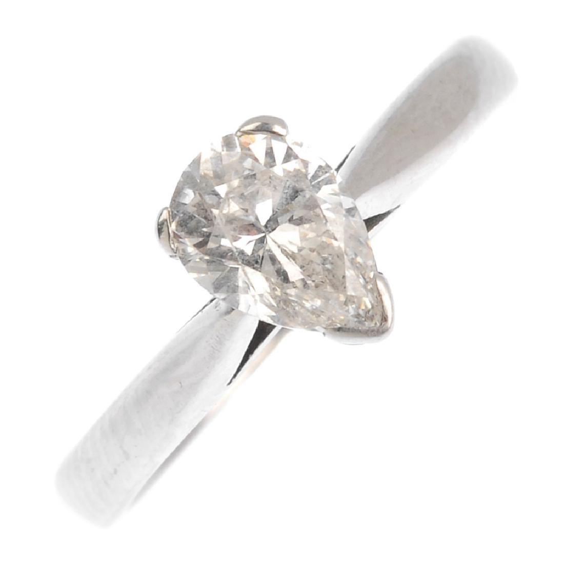 An 18ct gold diamond single-stone ring. The pear-shape