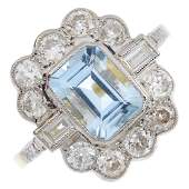 An aquamarine and diamond cluster ring The