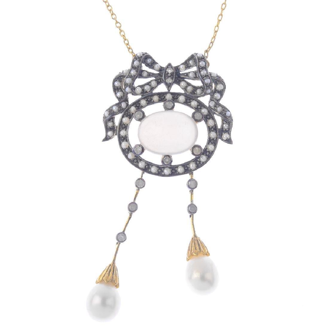 A gem-set necklace. Designed as an oval moonstone