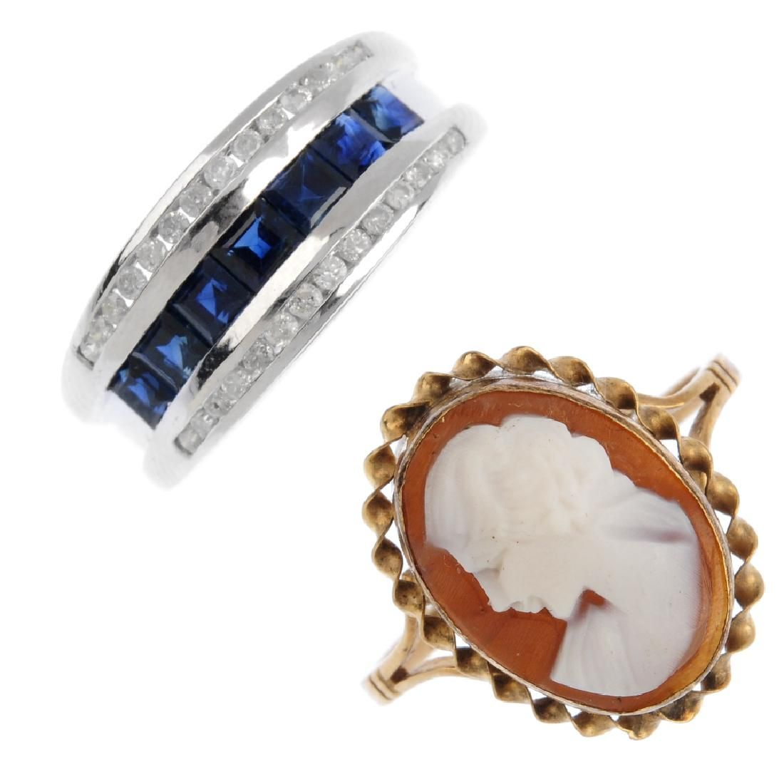 Four 9ct gold diamond and gem-set rings. To include a