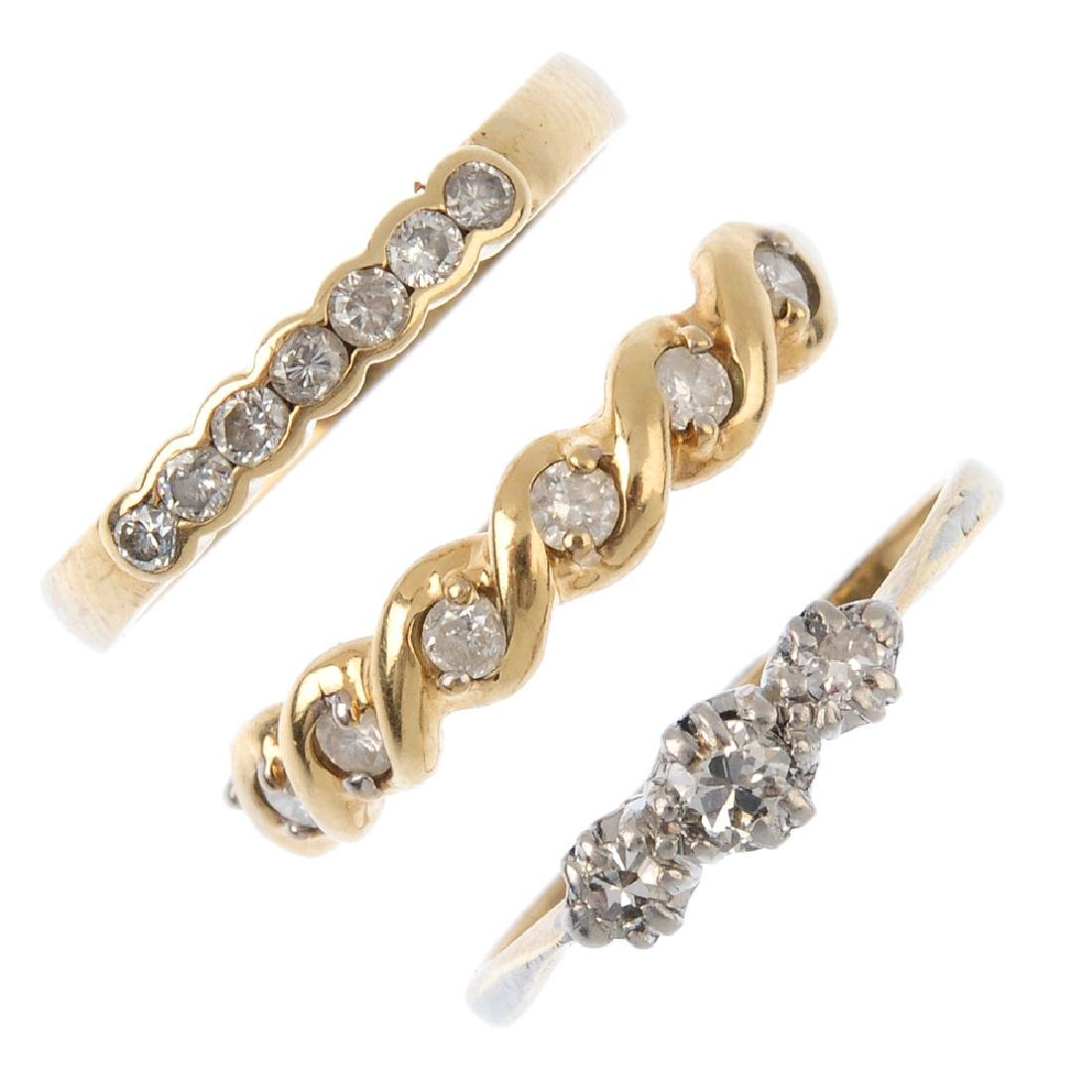 Three diamond rings. To include a brilliant-cut diamond