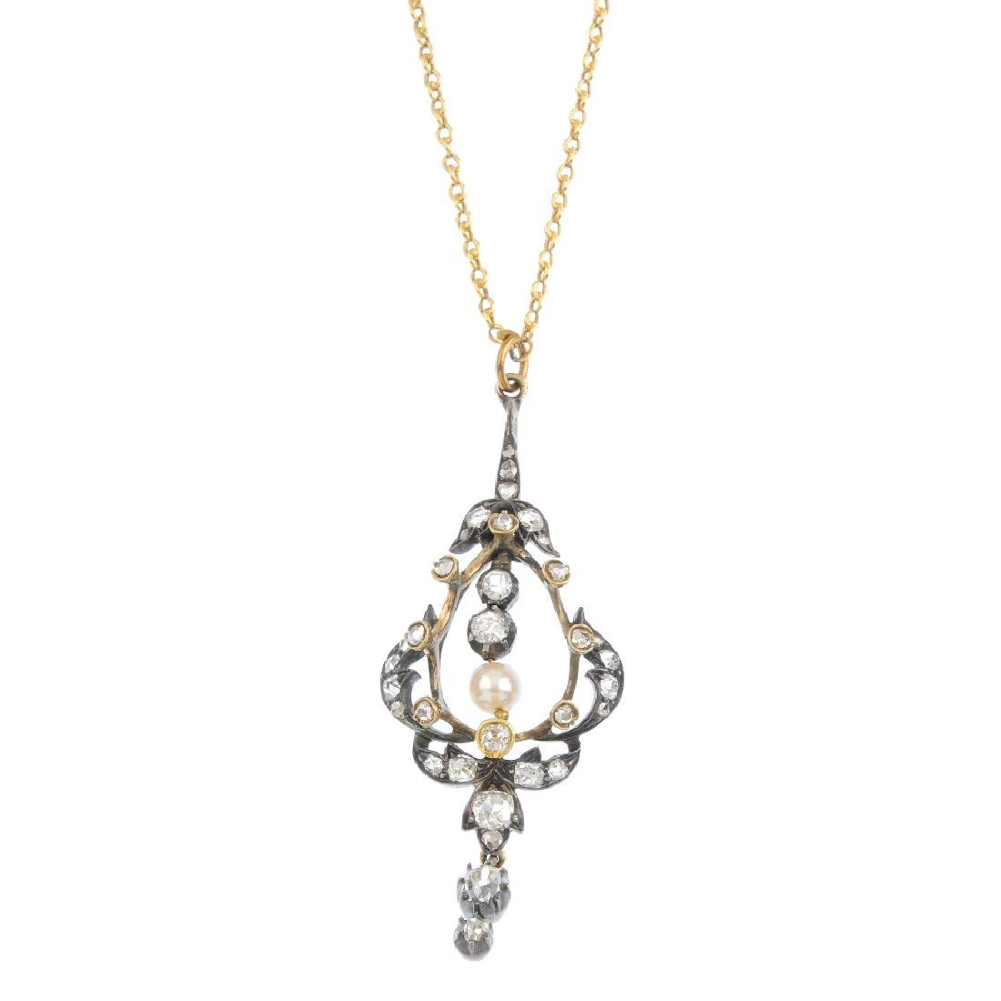 A late Victorian silver and gold diamond and cultured