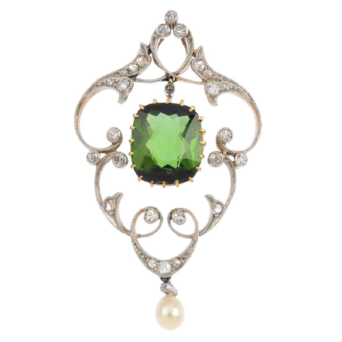 An Edwardian 15ct gold and silver, gem-set pendant. The