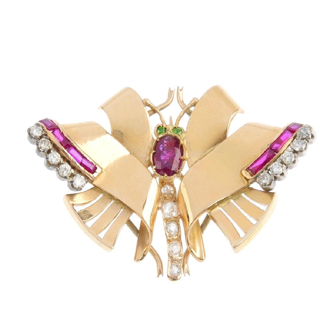 A mid 20th century gem-set butterfly brooch. The ruby
