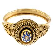 A late Victorian 15ct gold enamel and split pearl