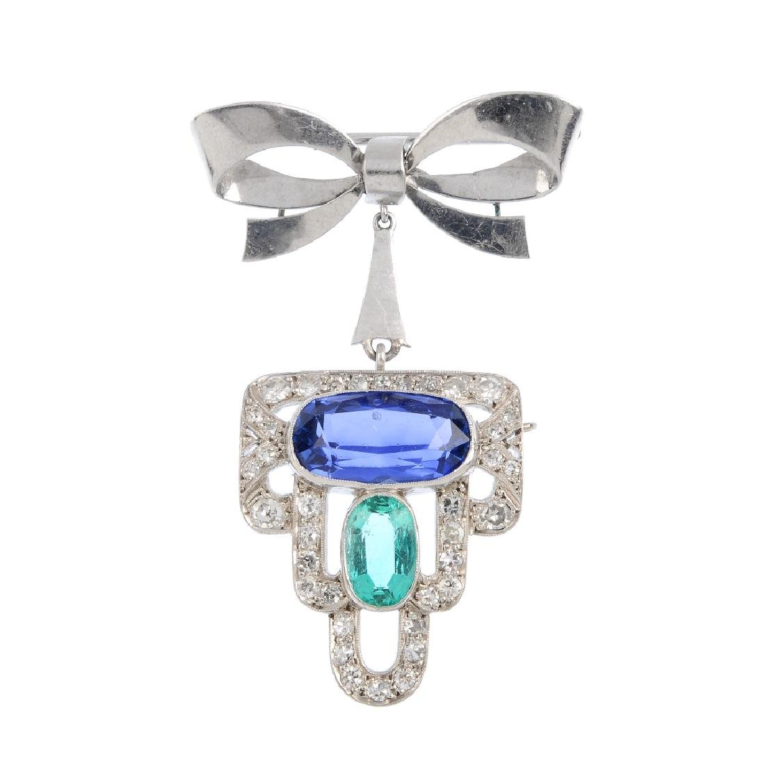 An Art Deco Burma sapphire, Colombian emerald and