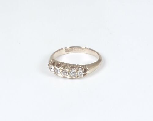 1001: 18ct gold five stone old cut diamond ha