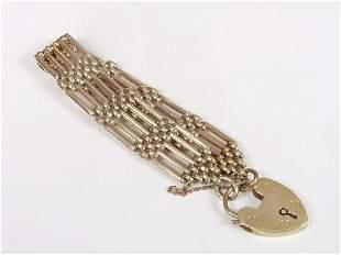 9ct gold five bar gate link bracelet wi