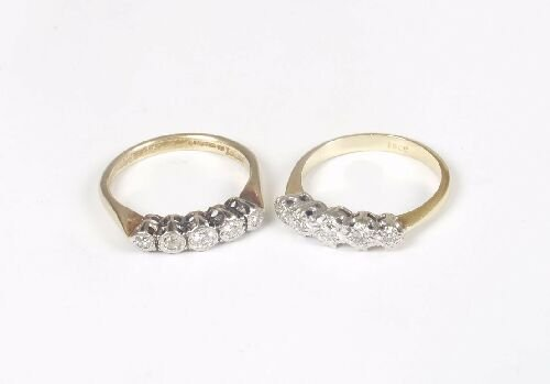 1008: Two 18ct gold illusion set five stone d