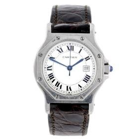 Cartier - A Santos Wrist Watch. Stainless Steel Case.