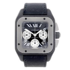 Cartier - A Santos 100 Chronograph Wrist Watch. Black