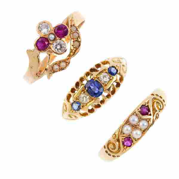 Three gem-set rings. To include a mid Victorian 18ct