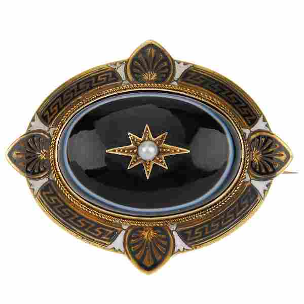 A late Victorian banded agate, enamel and pearl
