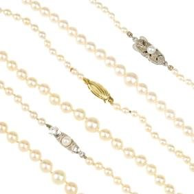Mikimoto - A Cultured Pearl Necklace And Four Further