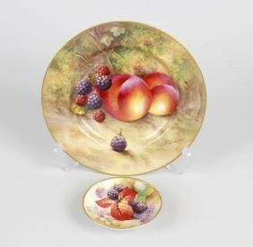 A Royal Worcester Bone China Dish, Hand Painted With