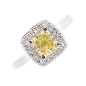A Platinum Fancy Intense Yellow Diamond And Diamond