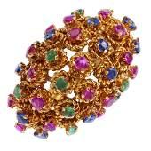 TIFFANY & CO -  a mid 20th century 18ct gold gem-set