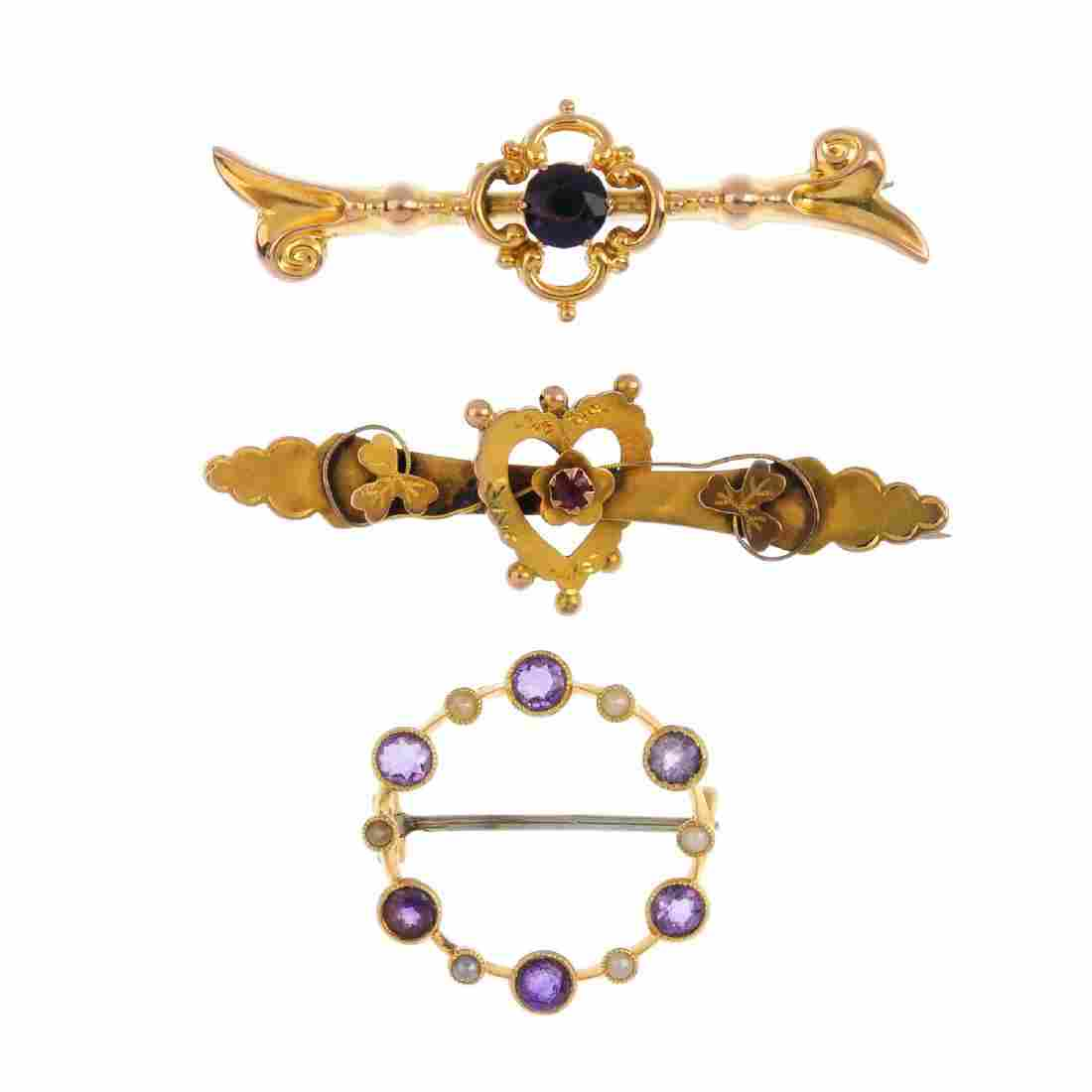 Three gold gem-set brooches. To include an Edwardian