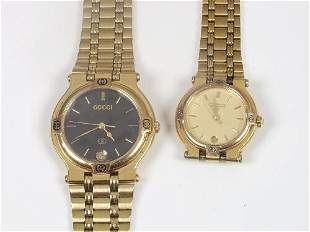 GUCCI - two 9200 series gold plated lad