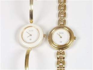 GUCCI - two lady's 1100 series gold pla