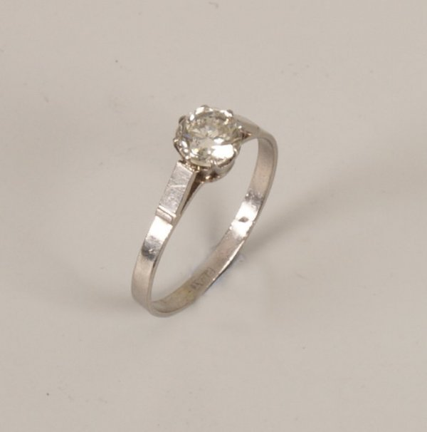 291:  Platinum single stone diamond ring set a round br