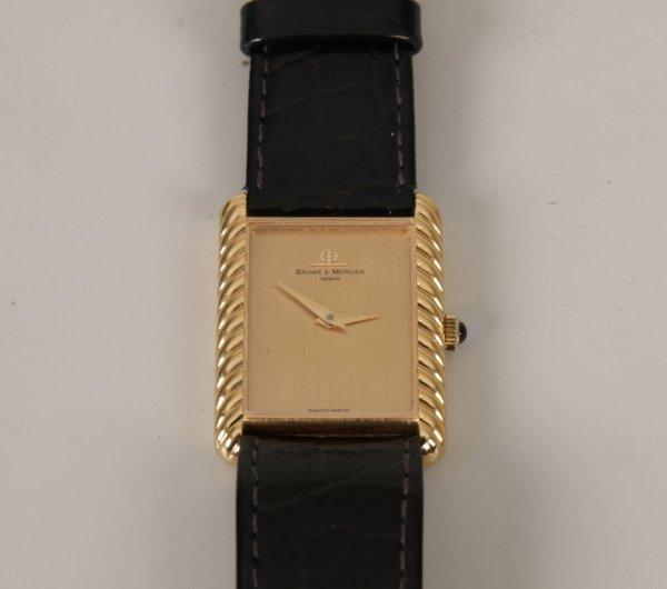 2006: BAUME & MERCIER - a gentleman's 18ct gold rectang