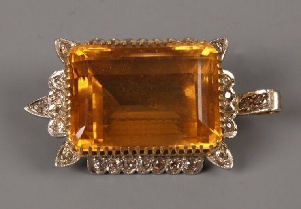 9: Continental gold large rectangular citrine and diamo