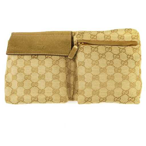 8a34adcb56d497 GUCCI - a gold Monogram Web canvas belt bag. With. placeholder