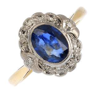 A mid 20th century 18ct gold and platinum sapphire and