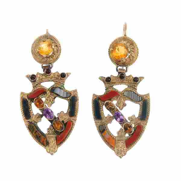 A pair of late Victorian gold Scottish agate earrings.