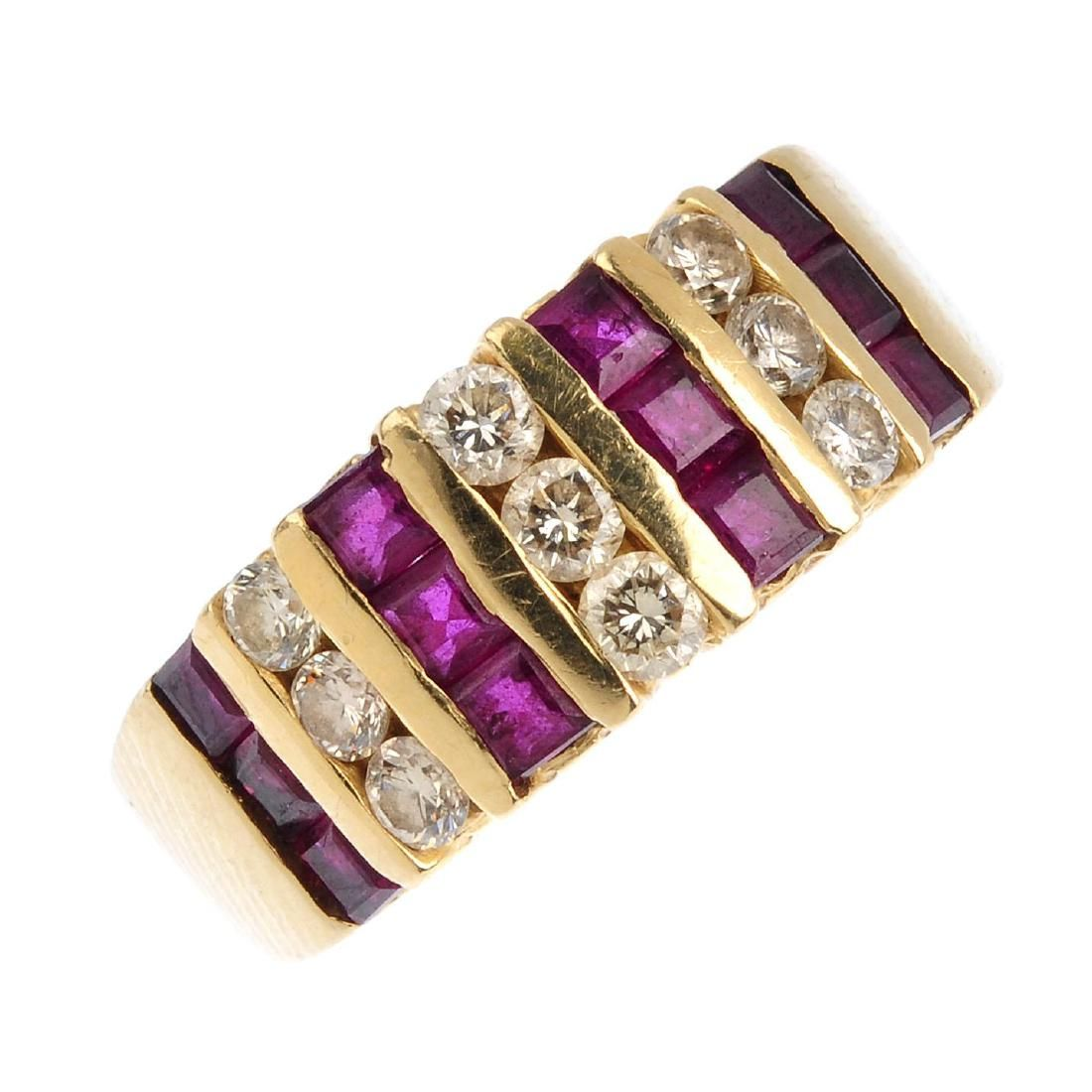 A diamond and ruby ring. The alternating square-shape