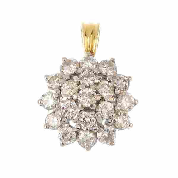 An 18ct gold diamond cluster pendant. The brilliant-cut