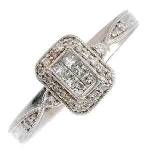 A palladium diamond ring The paveset diamond