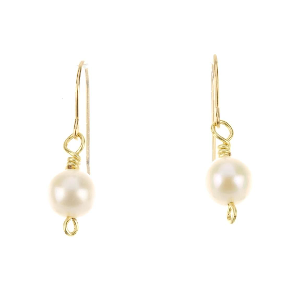 A pair of cultured pearl drop earrings. Each designed