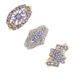 Three 9ct gold tanzanite rings To include a tanzanite