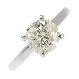 An 18ct gold diamond singlestone ring The