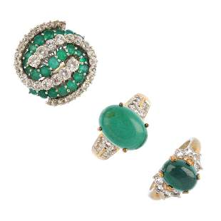 Three gemset rings To include two 9ct gold malachite