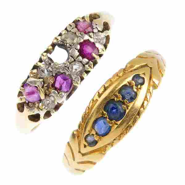 Two late Victorian gold gem-set rings. To include an