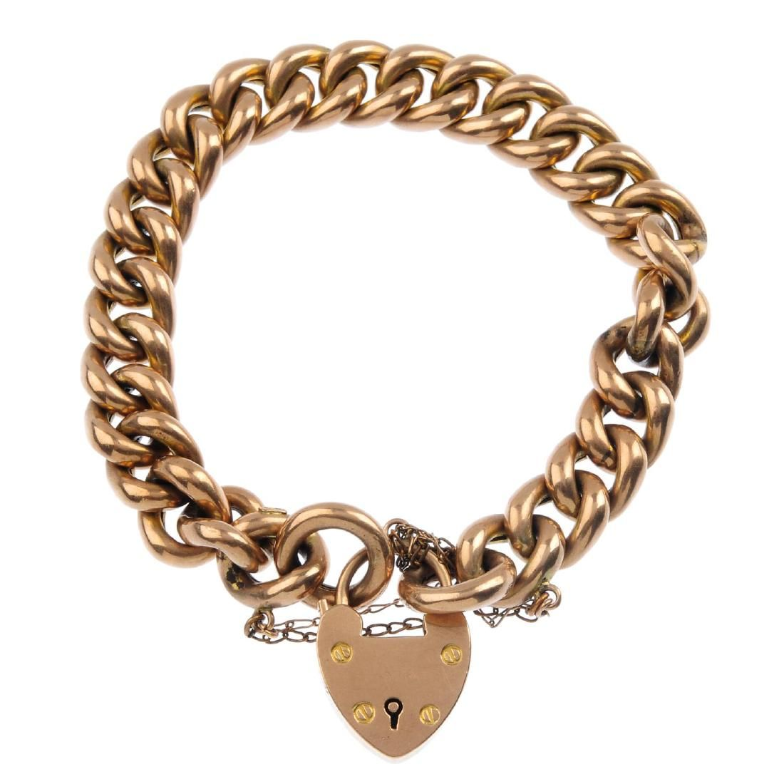A late Victorian 9ct gold bracelet, with padlock clasp.