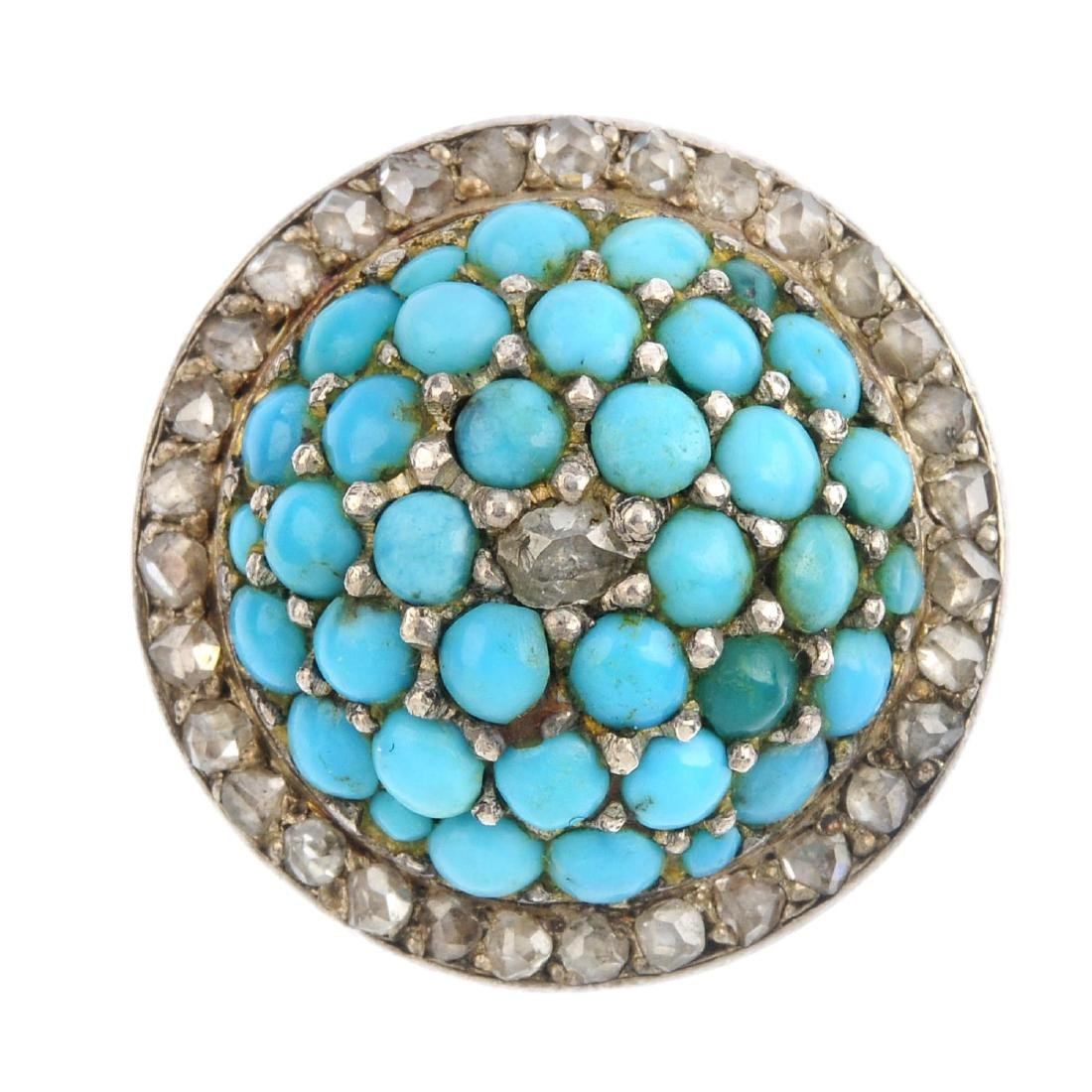 An early 20th century turquoise and diamond dress ring.